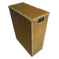Quality Dark Brown Wicker Laundry Basket With Lid , Eco-friendly PP Wire wholesale