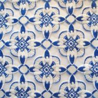 Quality Lace Fabric, White and Blue Polyester Embroideries Lace on White Organza wholesale