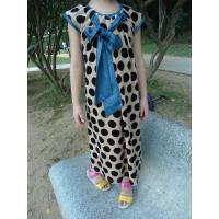 Quality Stretched Little Girl Velvet Dresses , Black Polka Dots Fall Color Block Dress wholesale