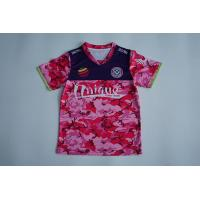 Buy cheap Breathable Custom Printed T Shirts Red Camo V Neck Sublimation Printing from wholesalers