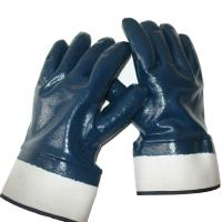 Best Selling OEM working gloves Blue nitrile Glove safety cuff of size M, L, XL of China supplier, Ansell Glove Quality.