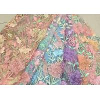 Quality Bead Embroidered Lace Fabric, Scalloped Multi Color 3D Flower Lace Fabric For Dress wholesale