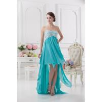 China Empire Strapless Short Front Long Back Chiffon Cocktail Homecoming Dress With Applique on sale