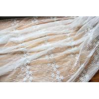 Quality Embroidery Floral White Tulle Lace Fabric For Dress Clothing / Scarf / Curtain 51.18 Wide wholesale