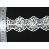 Quality 3 Inch Vintage Rose Lace Fabric / Double Edged Flower Lace Trim For Sewing wholesale