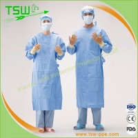 China Knitted Cuff Spunbound Nonwoven Sterile Surgical Gown on sale