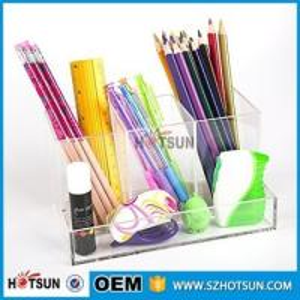 Cheap office clear acrylic desk organizer 2 tier 3 tier acrylic pen tray multi compartment for sale