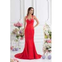 Quality Red Elegant Slim Long Evening Party Dresses with Beads , Chiffon Fabric wholesale