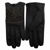China Ladies Long Leather Gloves With Eyelets Decoration on sale