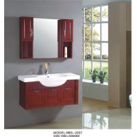 Cheap Cherry wood bathroom vanity optional drains / Faucet , natural wood bathroom cabinets with painting for sale