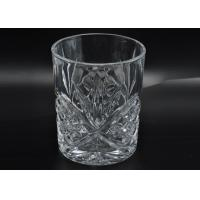 Quality 313ml Leave Pattern Embossment Clear Votive Glass Candle Holders Replacement Candle Jar wholesale