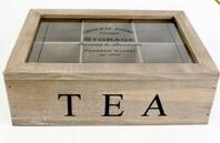 Quality Custom design 6 compartments wooden tea bag box with lid wholesale