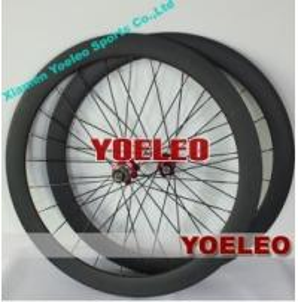 China 700C Carbon Wheels Tubular 50MM Black Spokes Red Hubs 3K Matt on sale