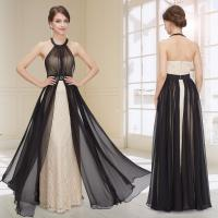 Quality Halter Chiffon Open Back Womens Evening Dresses , A Line Ruffles Prom Dress wholesale
