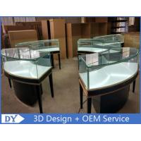 Quality Modern Matte Black Curve Shape Jewelry Display Cases With Led Lights wholesale