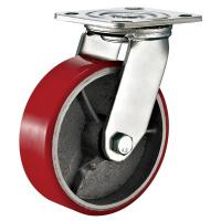 Quality Red Heavy Duty Swivel Plate Caster Wheel / 6 Inch Caster Wheels Polyurethane On Iron wholesale