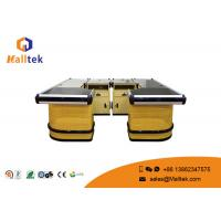 Quality High Grade Wood Supermarket Checkout Counter Multifunctional With Conveyor Belt wholesale