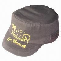 Quality Flat top cap/military cap/fashionable cap with printing, made of cotton, suitable for men wholesale