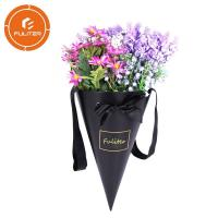 Quality Custom Paper Cone Florist Packaging Carton Boxes For Flowers With Handle wholesale