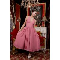 Quality Skin Pink Halter V Neckline Ankle Length Chiffon Evening Party Dress Online Beads wholesale