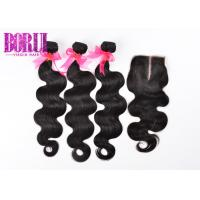 China Virgin Body Wave Extensions , 3 Bundles Malaysian Hair With Closure Unprocessed on sale