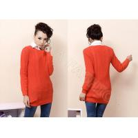 Quality Ball Knitting Ladies Cable Knit Sweater Scoop Neck , Long Sleeve Orange Sweaters for Women wholesale