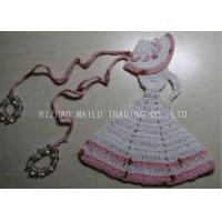 Quality Crochet Christmas Tree Skirt  White Dress Cloche Hat With Pink Trimming And Beads wholesale