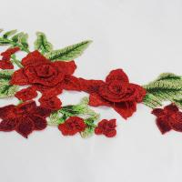Quality 34*18 CM Red Flower Embroidered Applique Patches For DIY Dress Decorative wholesale