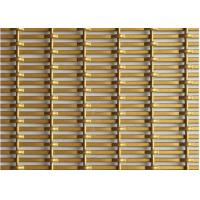 China Crimped Decorative Wire Mesh , Architectural Steel Mesh In Gold Color For Office on sale