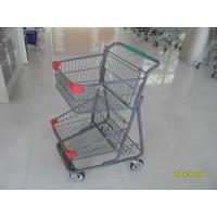 Quality Two Deck Basket  Shopping Trolley Cart With Grey Powder Coating Surface Treatment wholesale