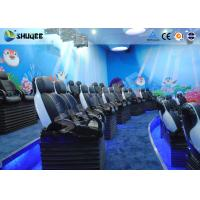 Quality Midsize 4D Cinema System , Black and white Glass Fiber Reinforced Motion Chairs And Black Leather wholesale