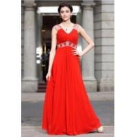 Quality China Evening Dress/ Red Strap Beading Chiffon Party Gown for women,ladies wholesale