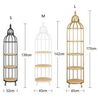 Quality Interior Decoration Metal Display Racks And Stands Creative Bird Cage Shape Flower Shelf wholesale