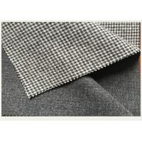 Quality Causal Suit / Pants Houndstooth Tartan Wool Fabric Black And White 820g wholesale