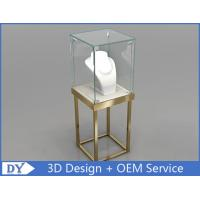 Quality Stain Steel Gold Frame Jewellery Glass Display Cabinets With Led wholesale