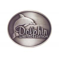 Quality Customized Antique Silver Plating Curved Dolphin Badge, Pewter Souvenir Badges for Mug wholesale