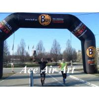 Buy cheap custom 26 feet black inflatable racing arch with removable banner for sport runners from wholesalers