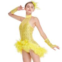 Quality Mock Neck Sequins Jazz Costume Feather Trimmed Dance Dress Illusion Deep-V Joints Performance Wear wholesale