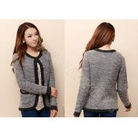 Quality Fashion Cardigan Womens Sweater Coats / Winter Thick Ladies Wool Sweaters in Gray wholesale