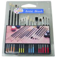 Quality Slim Long Handled Paint Brushes , Personalised Paint Brush Set T With Plastic Palette wholesale