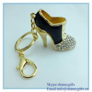 China Fashion handmade high-heeled shoes shape metal keychain on sale