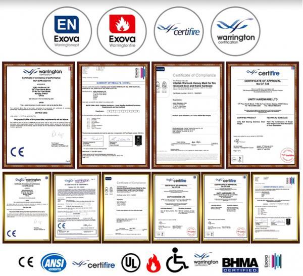 EN1906 satin stainless steel internal door handles -certificates