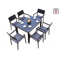 Quality 1 By 4 / 6 Outdoor Restaurant Tables Sets Plastic Wood Metal Frame Patio Dining Furniture wholesale