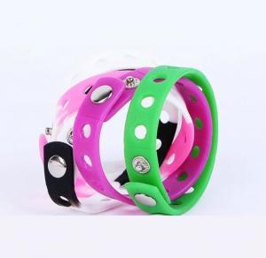 Quality Commercial Silicone Rubber Bracelets , Colored Rubber Bracelets Metal Button wholesale