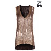 Quality Tape Yarn Womens Knit Sweater Vest  Pure Acrylic , Sleeveless Golden Print Vest V Neck wholesale