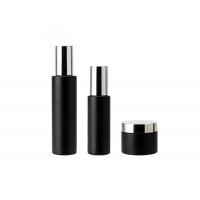 China Round Matte Frosted 50ml Black Glass Cosmetic Bottles on sale