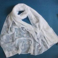 Quality Voile Woven Scarf with Embroidery wholesale