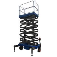 Quality 7.5 Meters Manual Pushing Mobile Hydraulic Scissor Lifting Platform Green Color wholesale