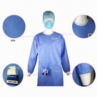 Quality Impervious Disposable Surgical Gown Sms Protective Clothing Knitted Cuff Sleeve Standard wholesale