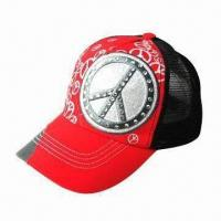 Quality Promotional Hat with Azo-free Dye Cotton Peak and Polyester Mesh, Customized Designs are Accepted wholesale